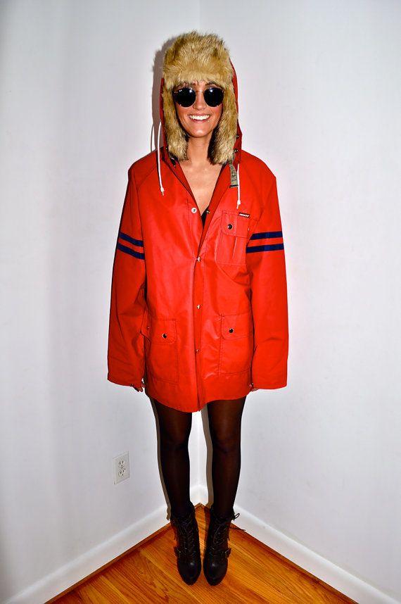 JORDACHE 1980s Red Raincoat Rain Hooded SAILING JACKET Slicker Mens ... 0a20c0f43e447