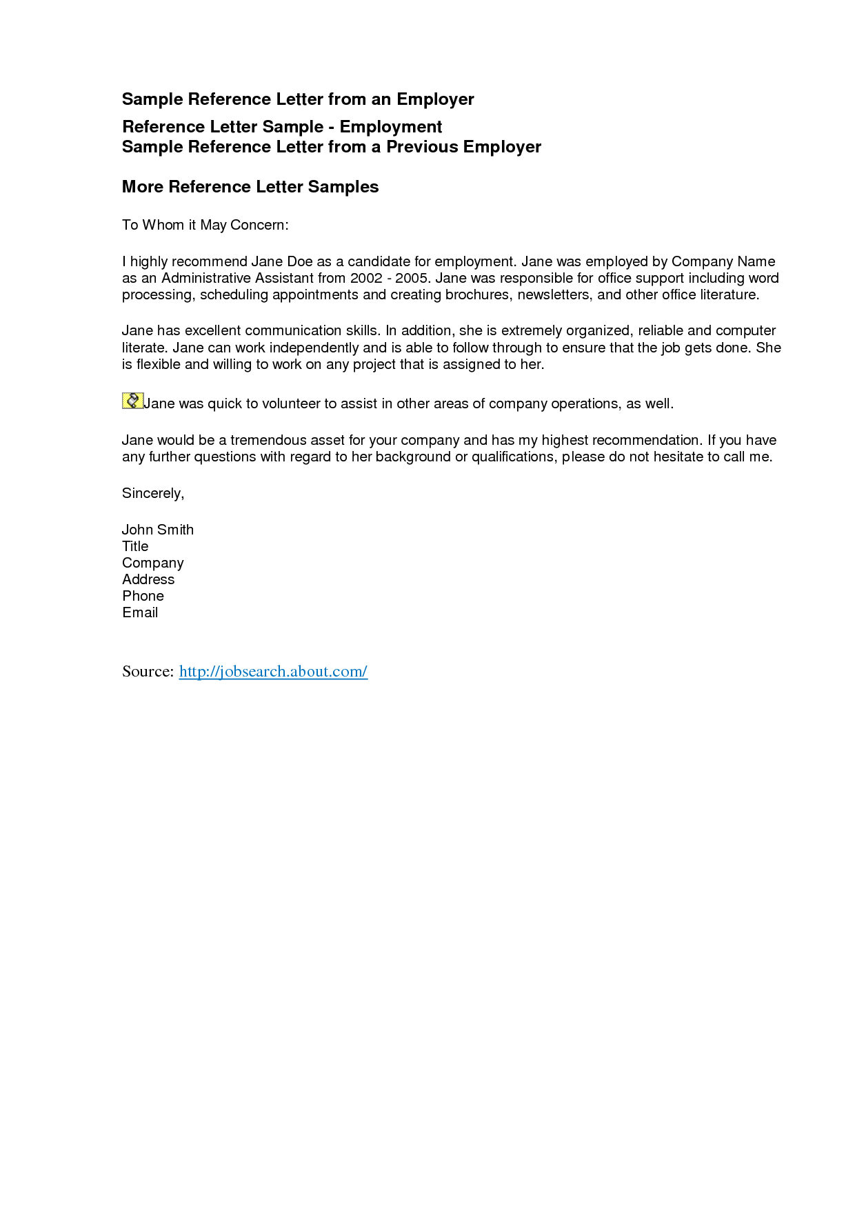 sample of a reference letter for an employee – Template for a Reference for an Employee