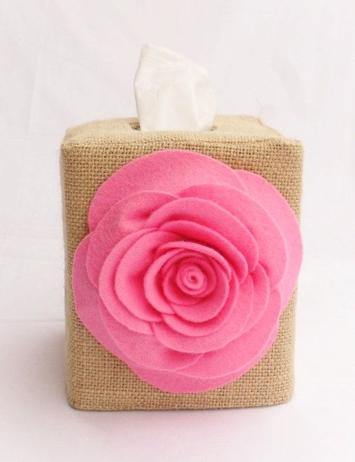 Pink rose burlap tissue box cover by headtotoe2009 on Etsy