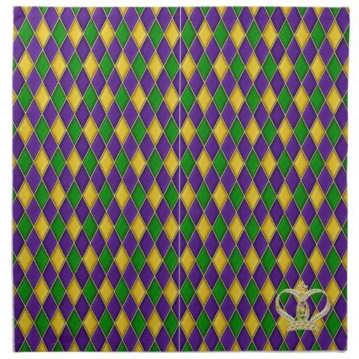 Mardi Gras Harlequin Pattern w/crown Napkins