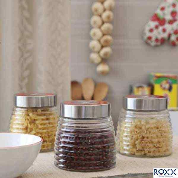 Roxx New Cascade 3 Pcs Storage Jar Setblack  Kitchen Storage New Kitchen Jar Set Decorating Inspiration
