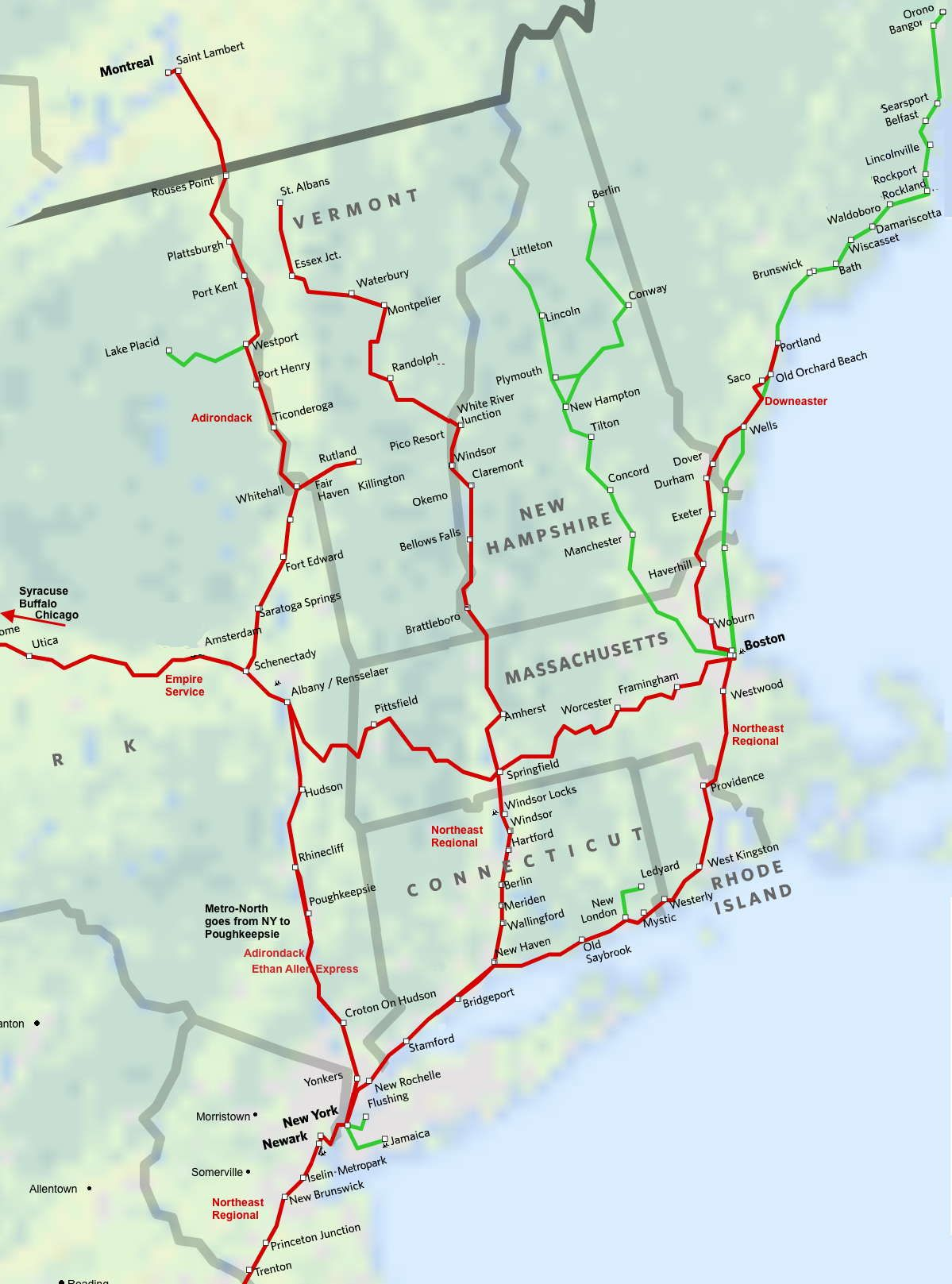 North East New England Amtrak Route Map. Super easy way to get to
