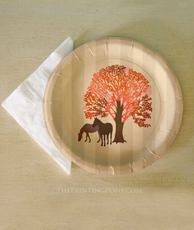 Fall Thanksgiving Paper Plates from The Painting Pony - Autumn Equestrian Horse Themed Paper Party Plates & Fall Thanksgiving Paper Plates from The Painting Pony - Autumn ...