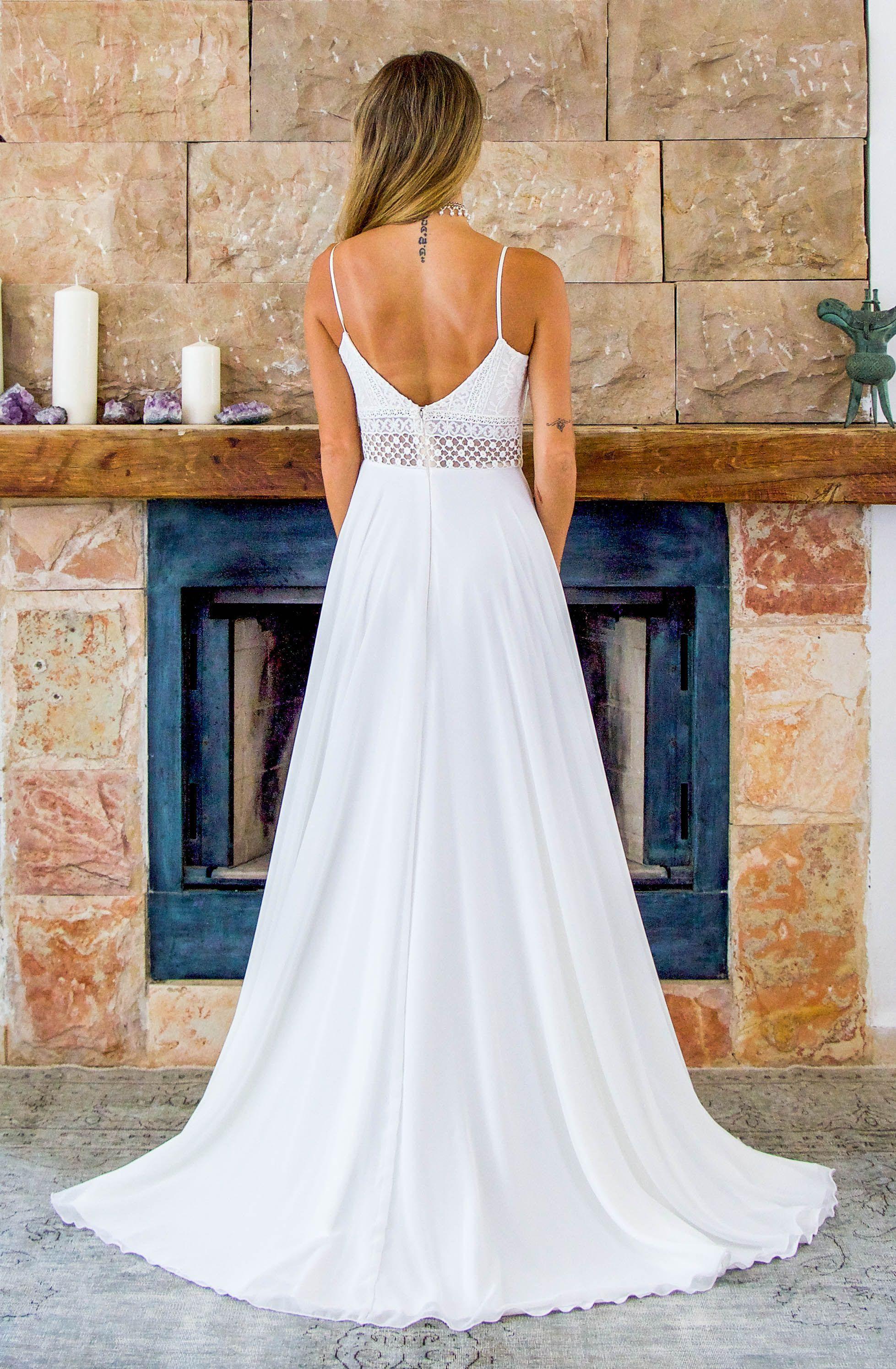 Boho wedding dress open back wedding dress v neck wedding dress