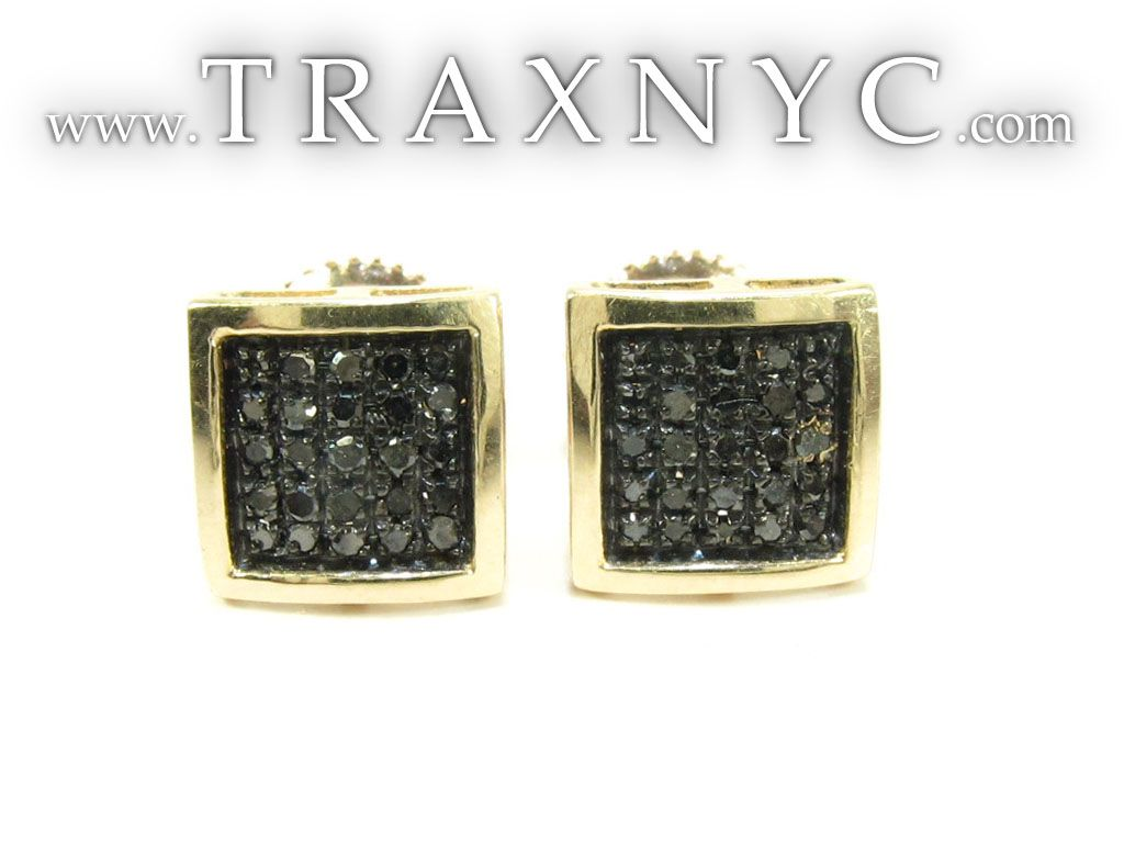 Square Black Diamond Earrings 26047 Mens Earring Yellow Gold 10k Round Cut 0 30 Ct Traxnyc