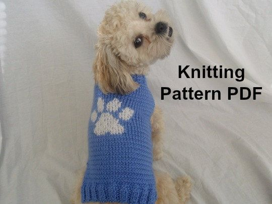Easy Dog Sweater Knitting Pattern With Paw Print On The