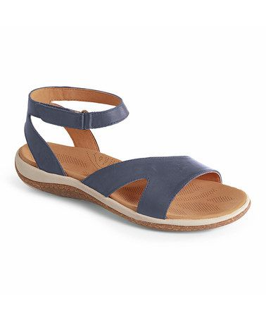 This Navy Vista Leather Sandal - Women by Acorn is perfect! #zulilyfinds