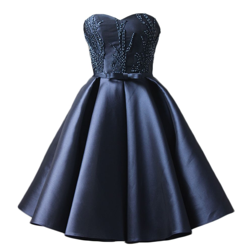 Amazing navy blue satin short prom dress party dress