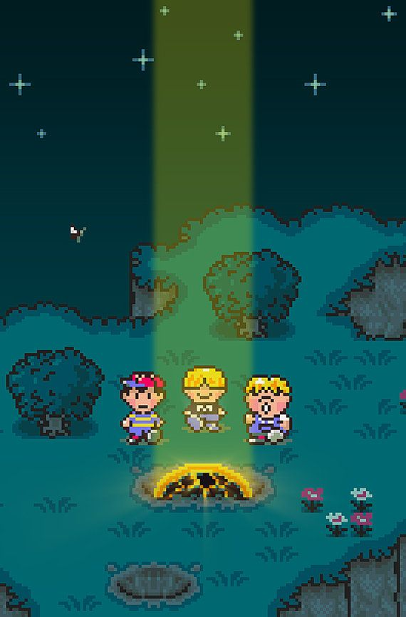 Poster of Ness, Picky, Pokey, and Buzz Buzz at the meteor crash site from EarthBound.