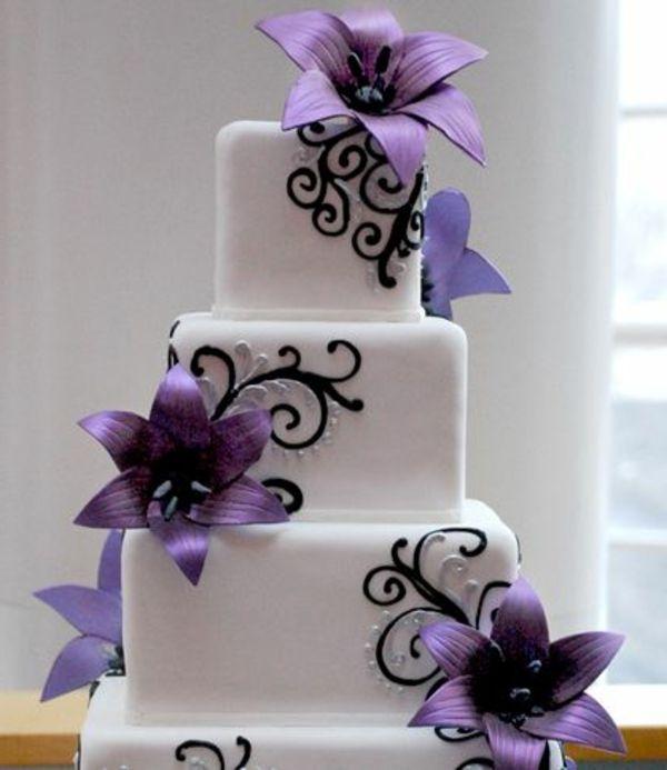 Lila Hochzeitstorte Ideen Violette Und Purpurrote Muster Wedding