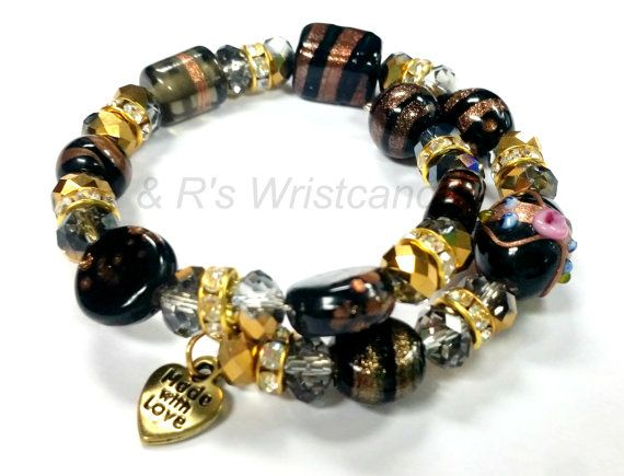Black and Gold Bracelet Alex and Ani Inspired by RandRsWristCandy