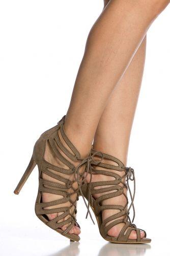 b8e25c5c3a6af Taupe Faux Suede Cut Out Lace Up Heels   cipő, táska   Cipők, Táska