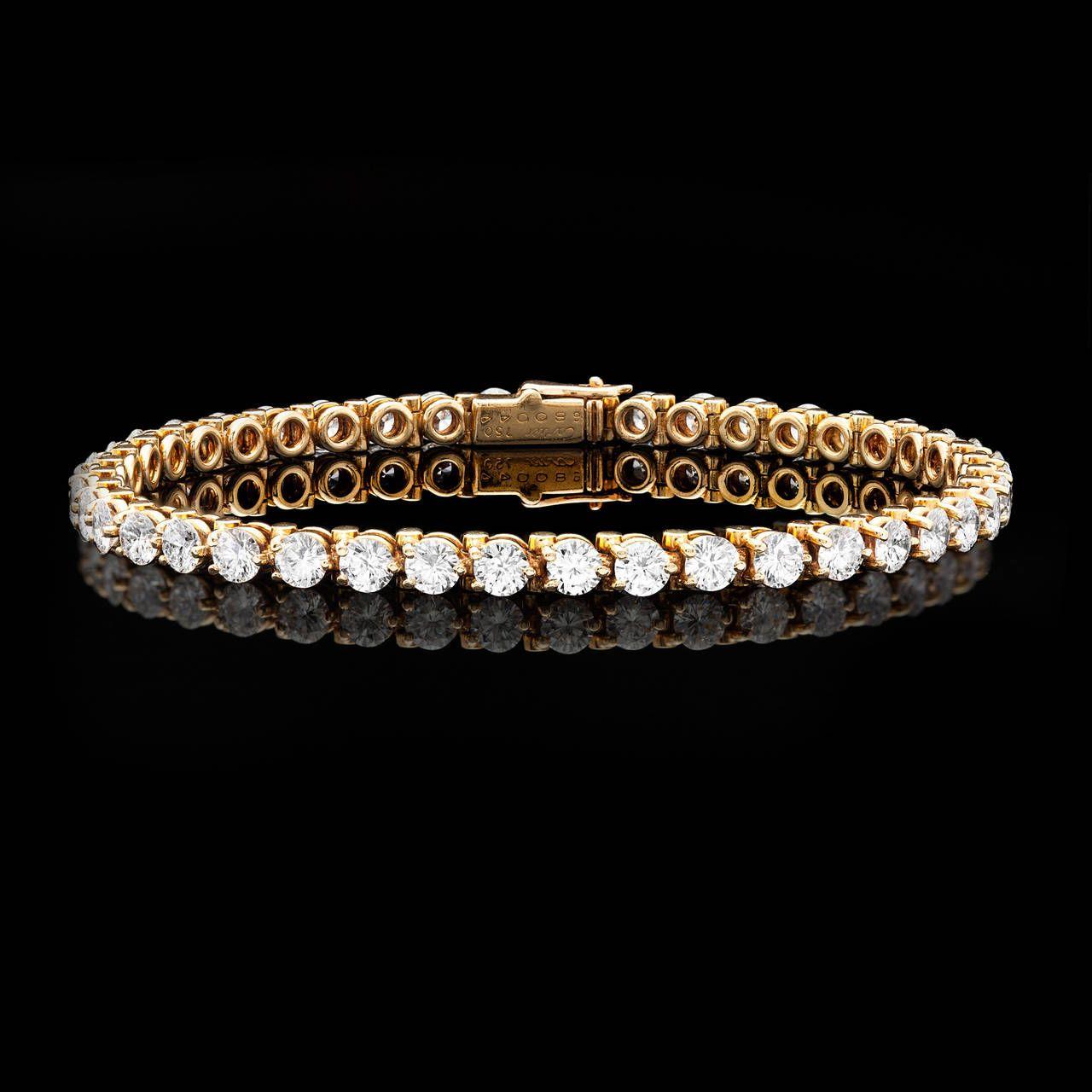 Cartier 6.30 Carat Diamond Gold Tennis Bracelet | From a unique collection of vintage tennis bracelets at https://www.1stdibs.com/jewelry/bracelets/tennis-bracelets/