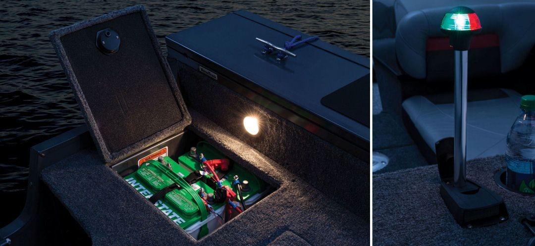 tracker targa v-18 combo: three interstate batteries (1 cranking and 2  trolling) and an onboard battery charger keep systems humming  the running  lights are