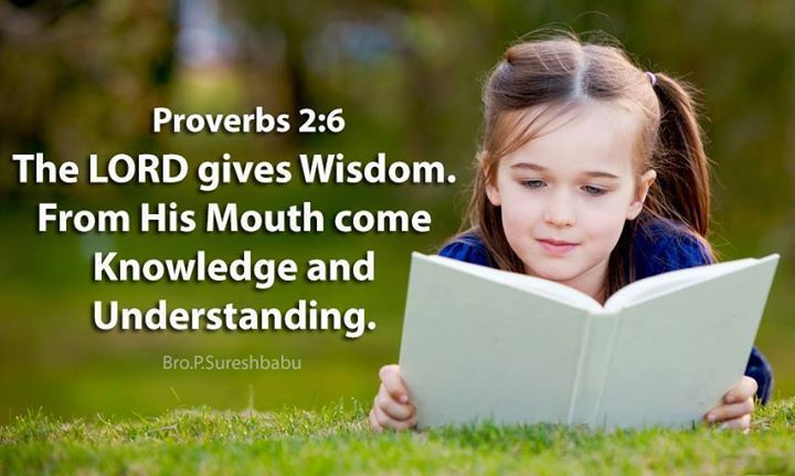 For the LORD gives wisdom; from his mouth come knowledge and understanding Proverbs 2:6
