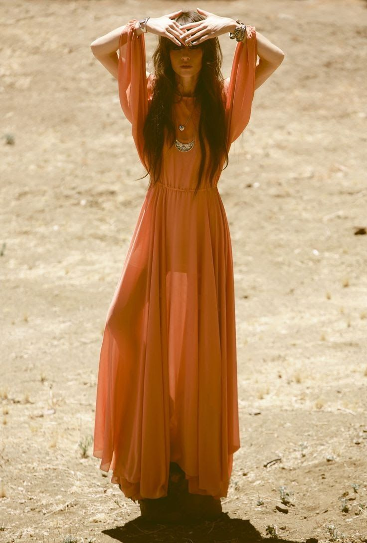 Orange dress casual  Orange maxi dress boho gypsy  Fashion Inspiration  Pinterest