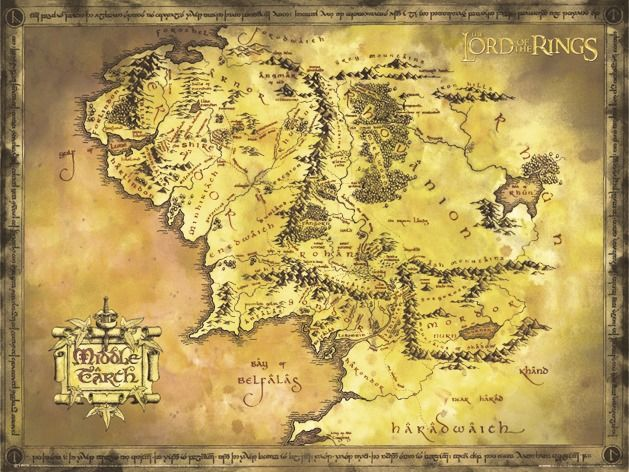 Lord Of The Rings Map Karte Von Mittelerde Herr Der Ringe Tattoo