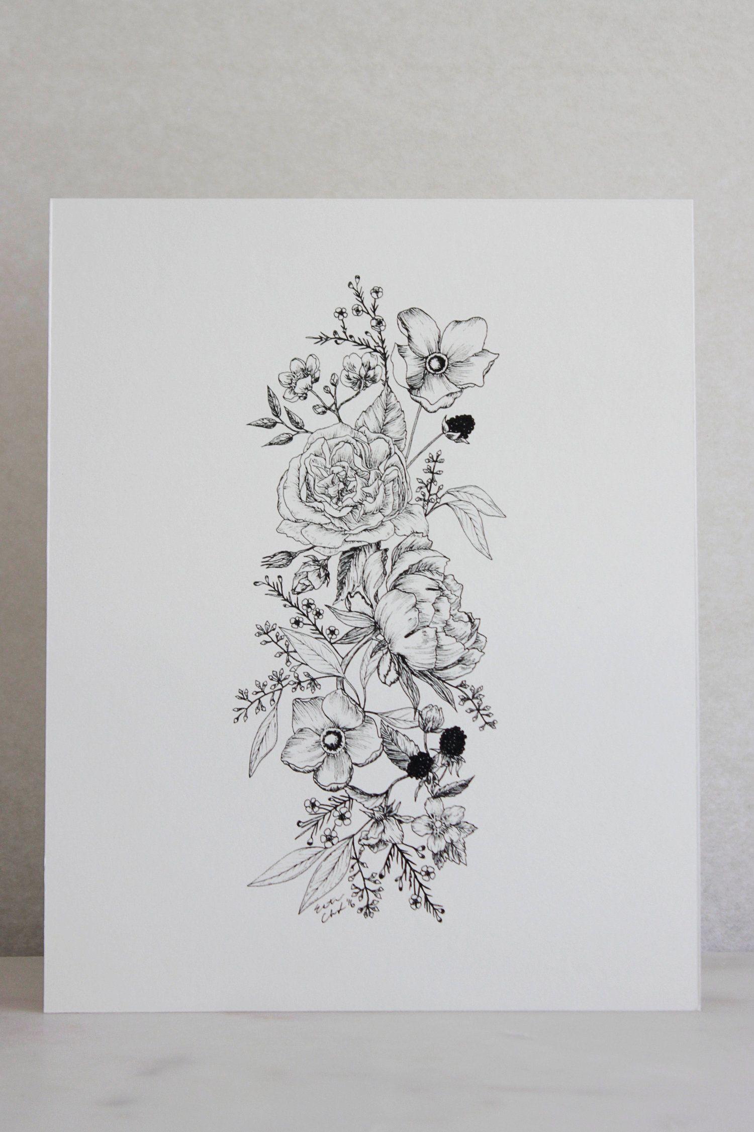 Linework Floral Illustration — Esther Clark Co