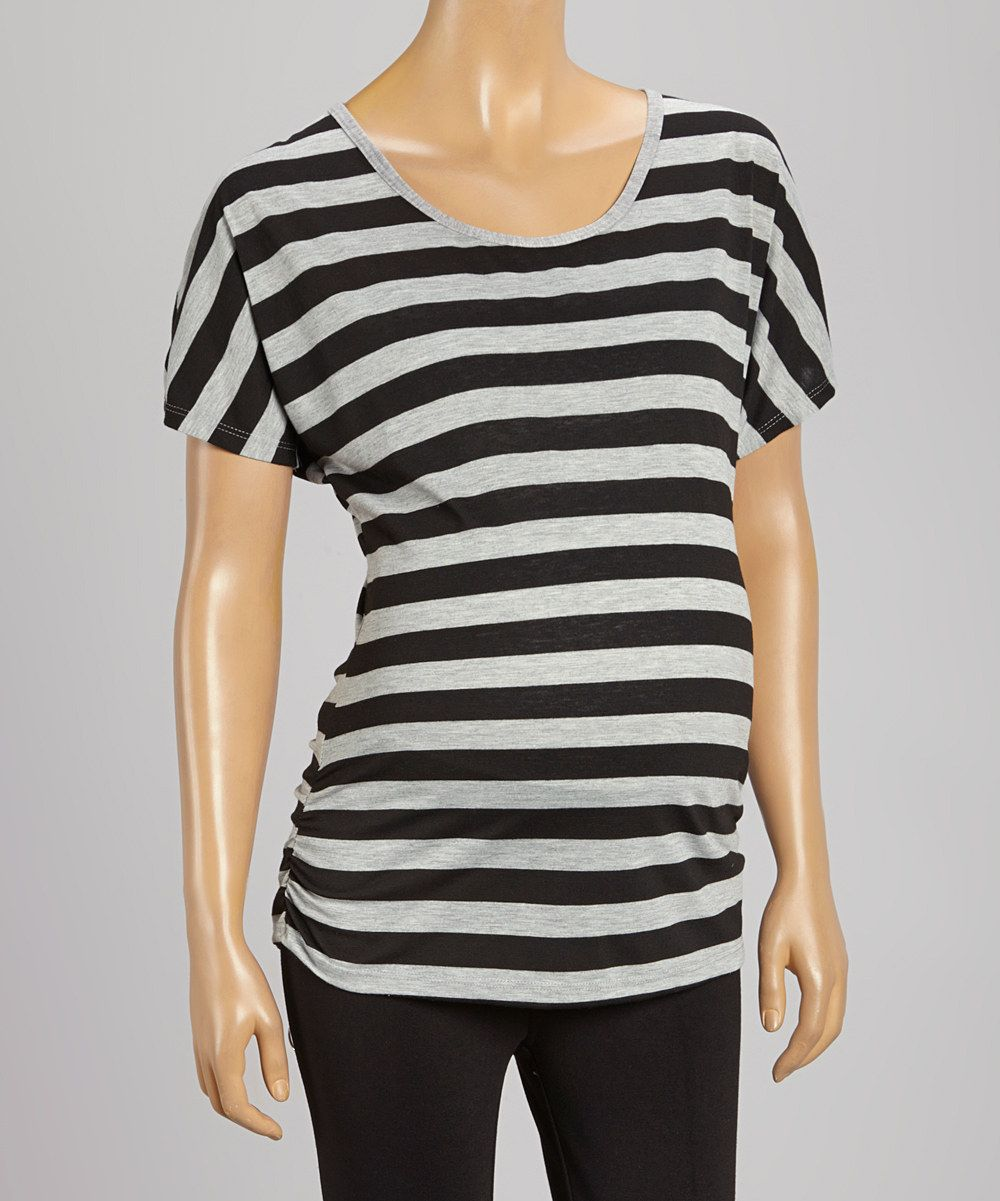 Look at this #zulilyfind! Bella Vida Jeans Black & Gray Stripe Ruched Maternity Tee - Women by Bella Vida Jeans #zulilyfinds