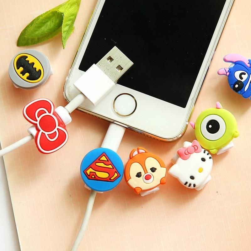10pcs cute cartoon usb charger cable earphone cable