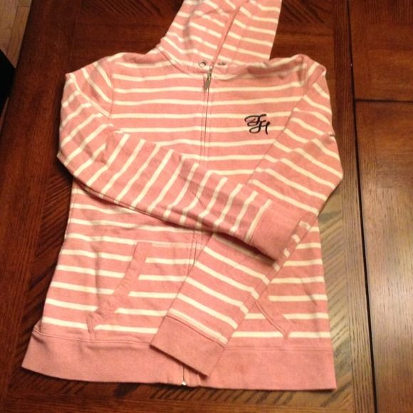 Tommy Hilfiger pink/cream stripe sweatshirt Tommy Hilfiger pink/cream stripe sweatshirt Tommy Hilfiger Jackets & Coats