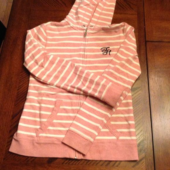 Tommy Hilfiger pink/cream stripe sweatshirt Tommy Hilfiger pink/cream stripe sweatshirt Tommy Hilfiger Jackets & Coats