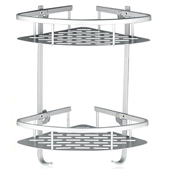 Lancher Bathroom Shelf (No Drilling) Durable Aluminum 2 tiers shower