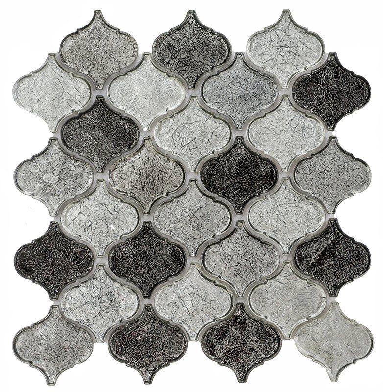 "Mini Lantern 11.81"" x 12.2"" Glass Mosaic Tile in Gray"