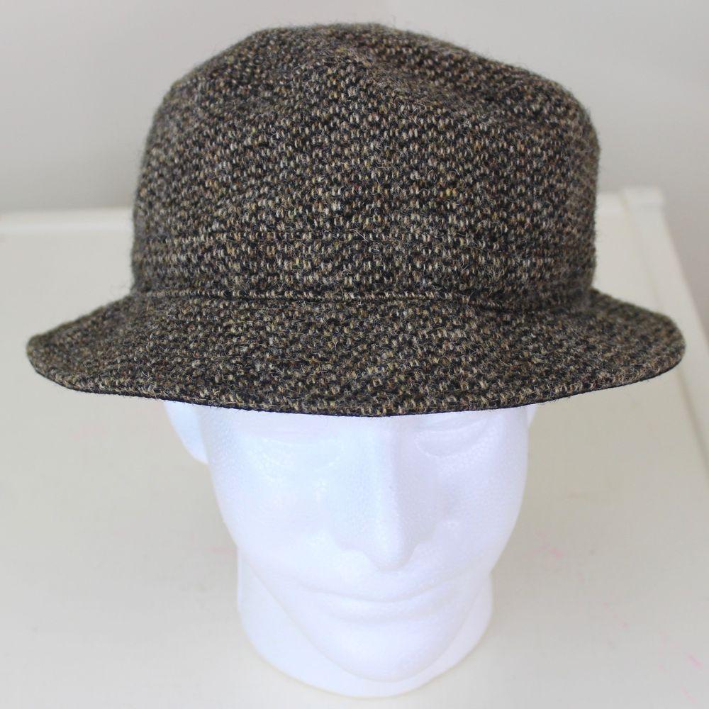 74237c45cb1 LL Bean Harris Tweed Bucket Hat size Medium Brown Wool Goretex Lined  Waterproof  LLBean  BucketHat