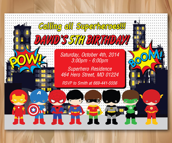 Superhero Birthday Party Invitation Super Hero Pop Art Bday Invite Custom Photo Boy Any