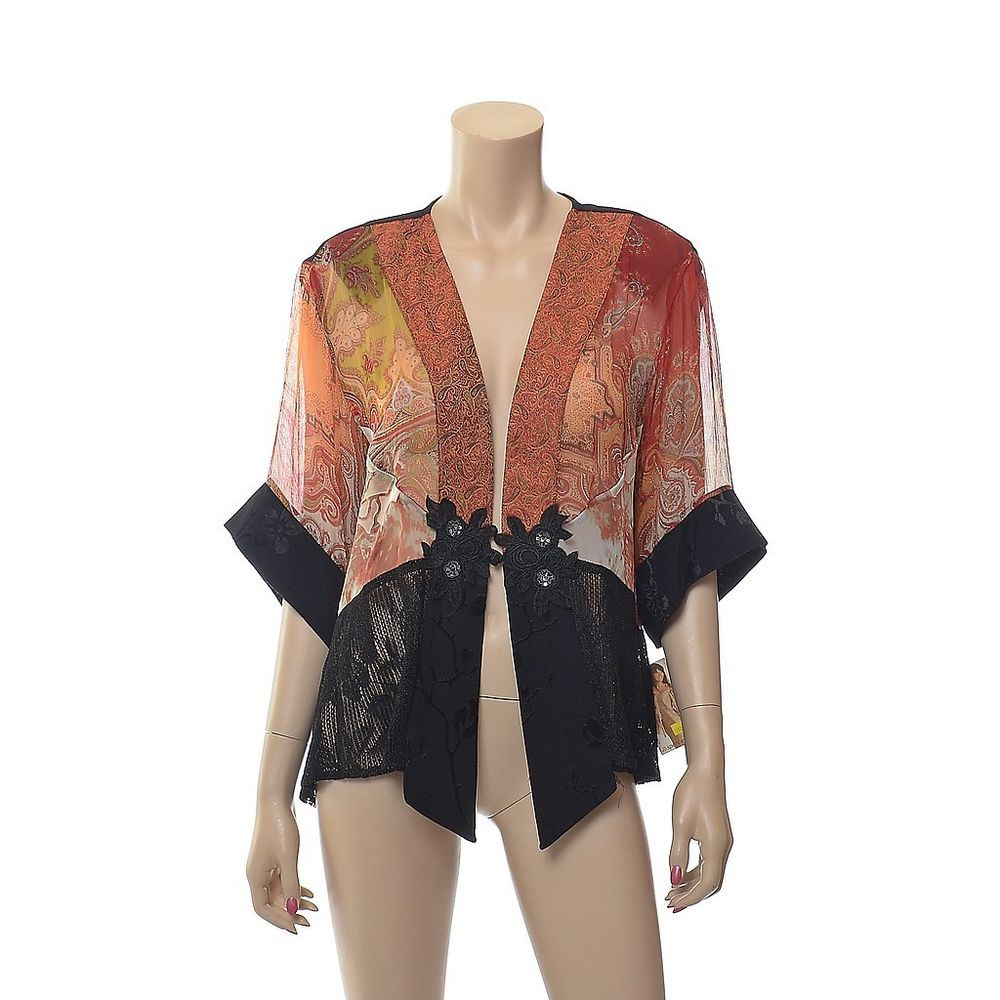 NWT SPENCER ALEXIS Silk Blend Lace Sequin Lagenlook Asian Kimono ...
