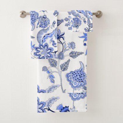 Blue And White Romantic Chintz Floral Bath Towel Set Zazzle Com