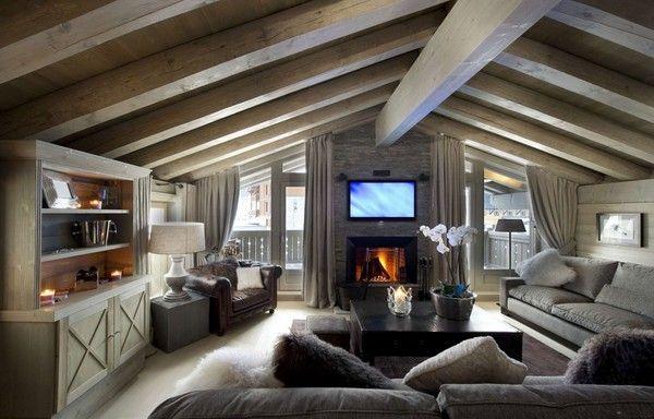 Wohnzimmer Gemutlich Kamin. Landhaus Gebirge Interieur-Modernes