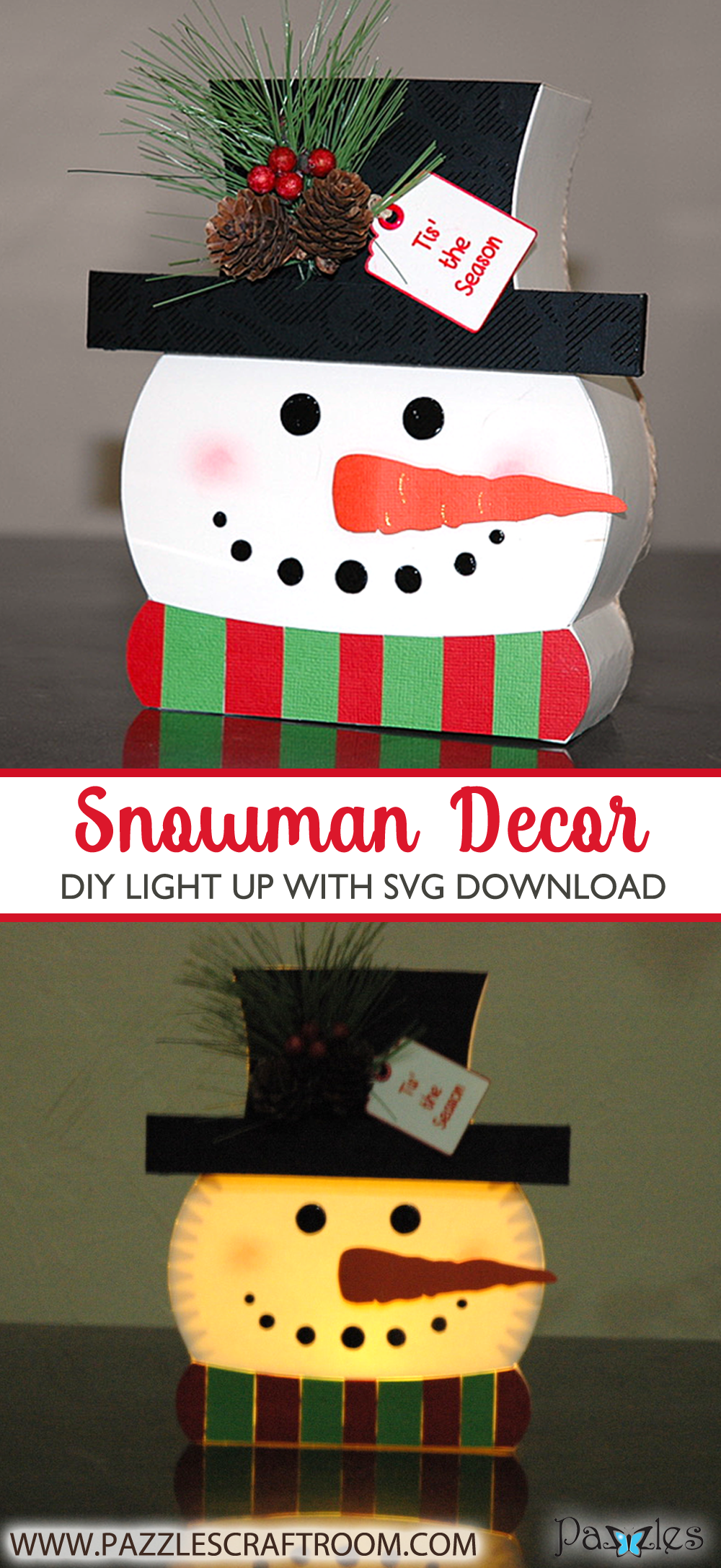 Light Up DIY Snowman Decoration with instant SVG download