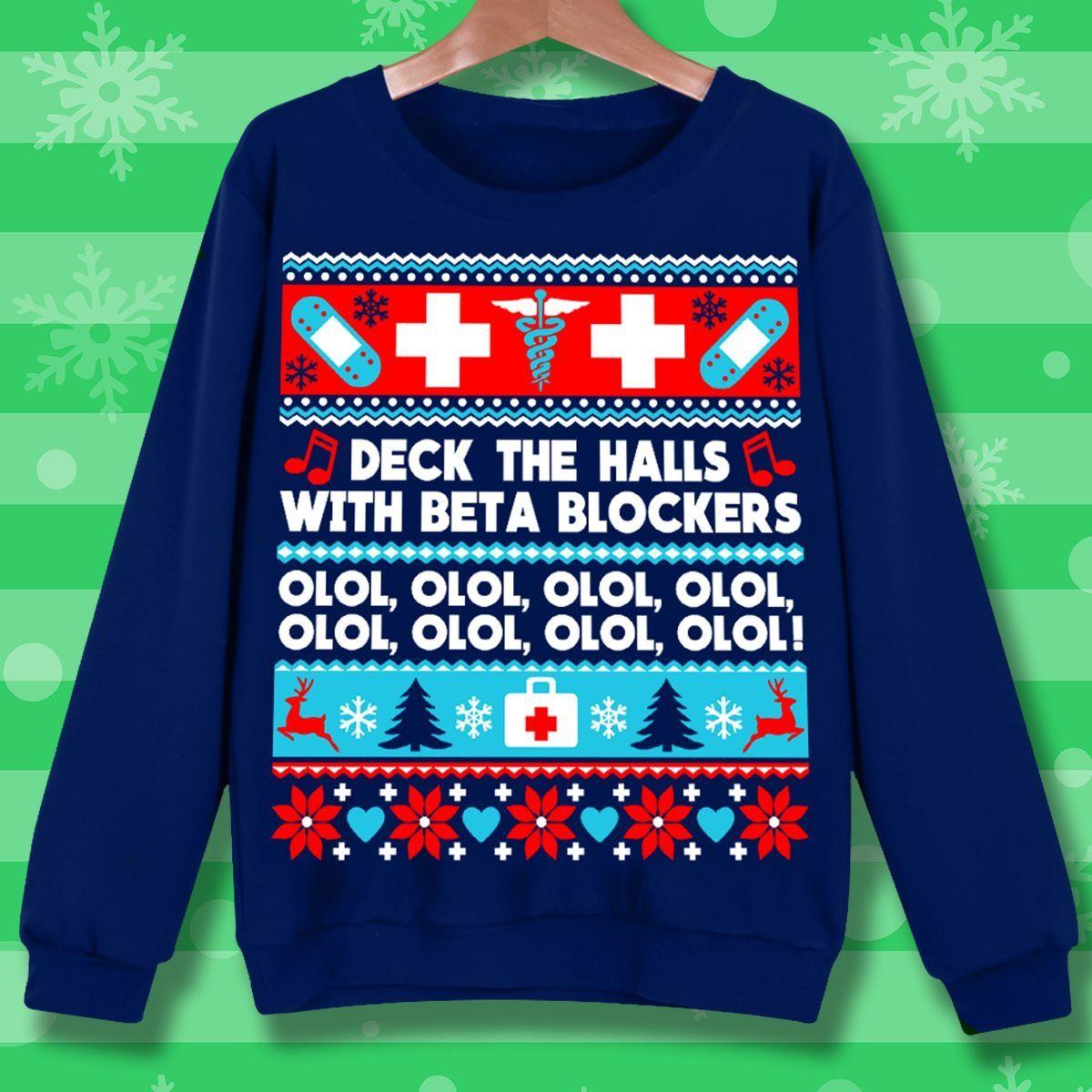 Funny Gift Birthday Awesome Tee Beta Blockers Nurse Ugly Christmas Sweater Zip Hooded Sweatshirt