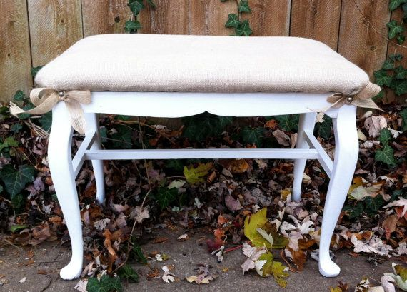 Shabby Chich Burlap Bedroom Bench by antique2chic on Etsy, $125.00