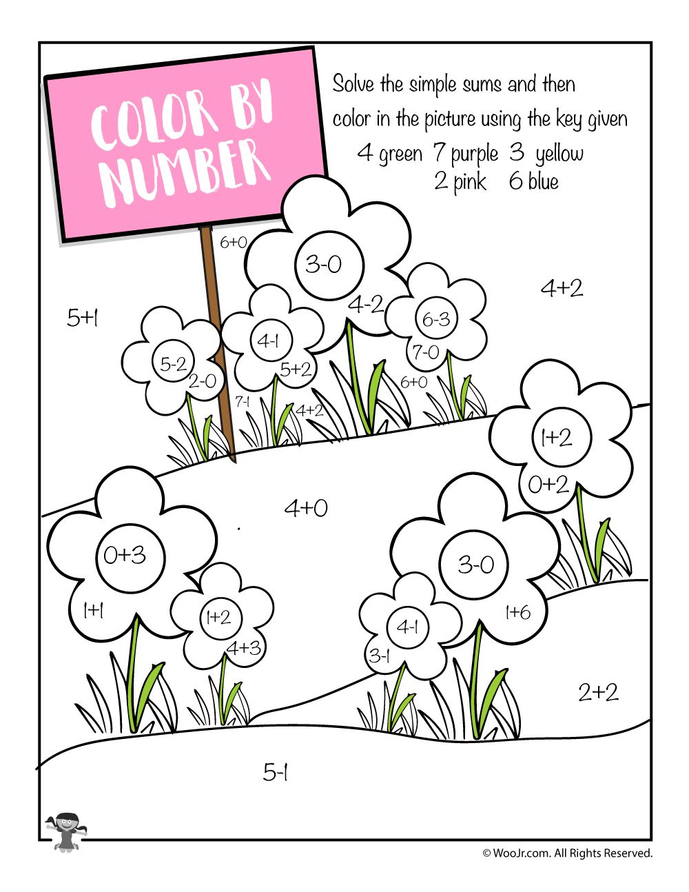 Addition and Subtraction Spring Coloring Page Spring