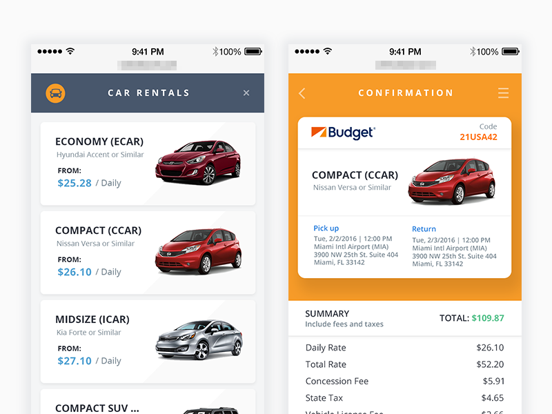 Car Rentals | Mobile UI Examples | Car rental, Car app, Mobile app