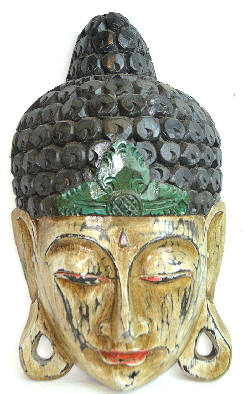 U vintage style large gold buddha head wood wall art mask plaque