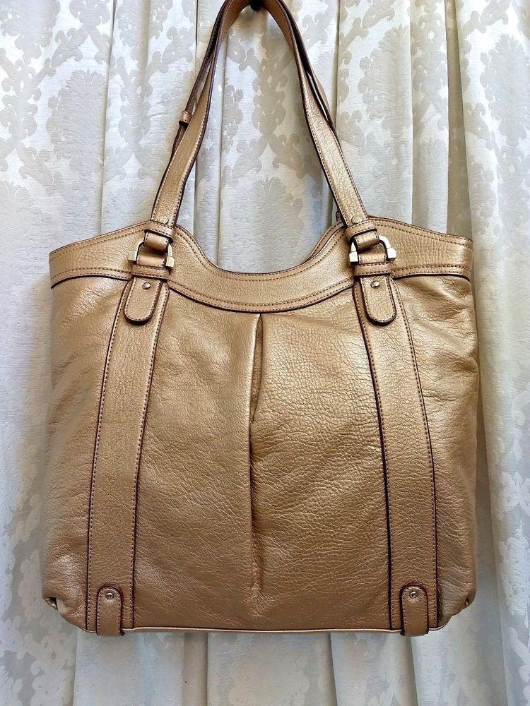 644b5643b593 Liz Claiborne Womens Tote Gold Leather Handbag Purse Medium NWT   LizClaiborne  TotesShoppers