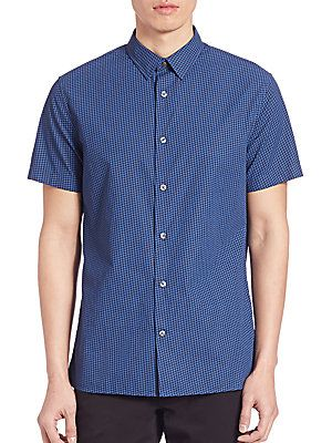 Vince Printed Poplin Short Sleeve Melrose Shirt - Indigo