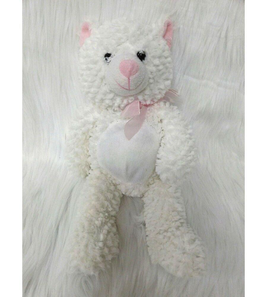 Goffa 14 Chenille Cat Kitten White Pink Soft Plush Stuffed Toy