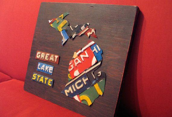 Michigan License Plate Map Artwork Miniature Size