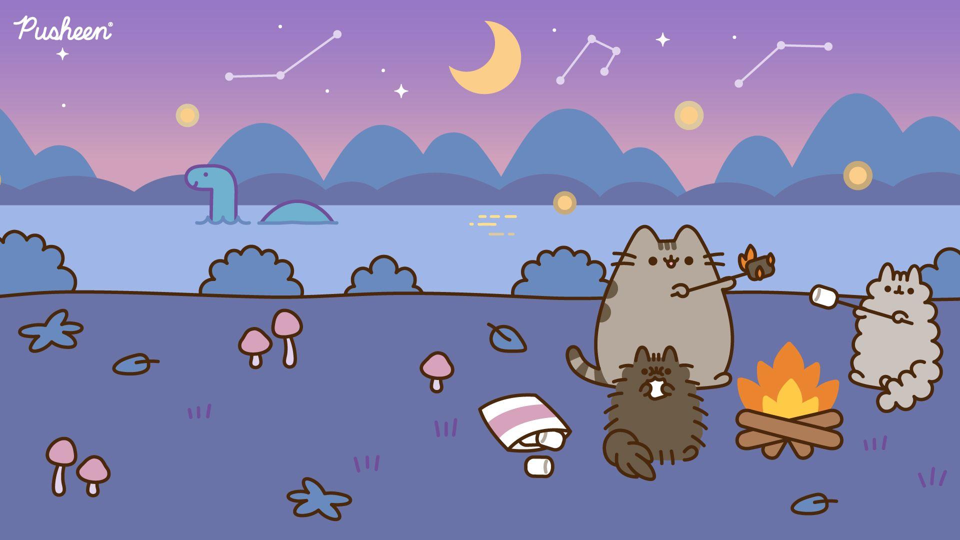 Pusheen Zoom Backgrounds Pusheen Pusheen Cute Cute Cartoon Wallpapers Kawaii Wallpaper