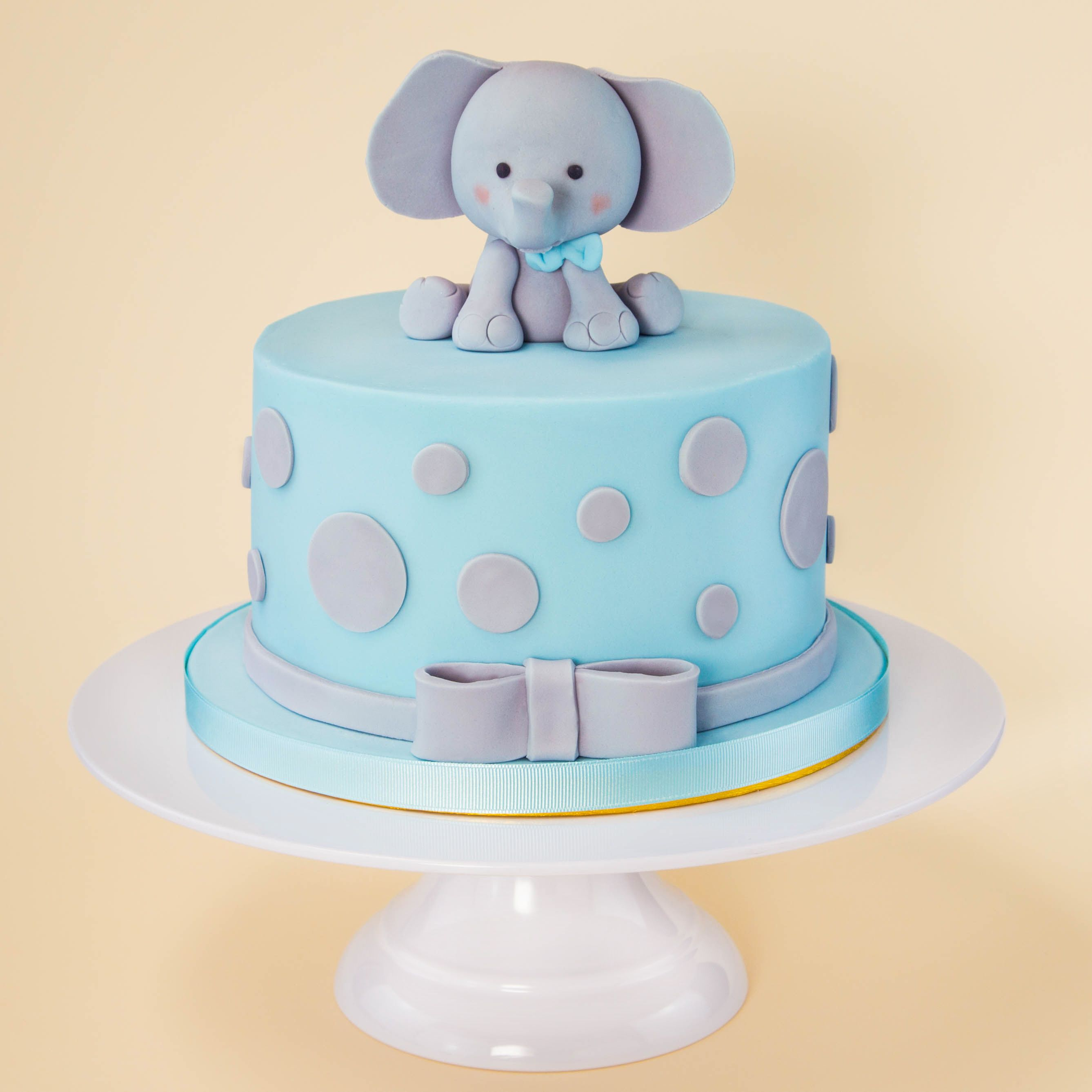 Baby boy childrens cake idea blue elephant fondant icing
