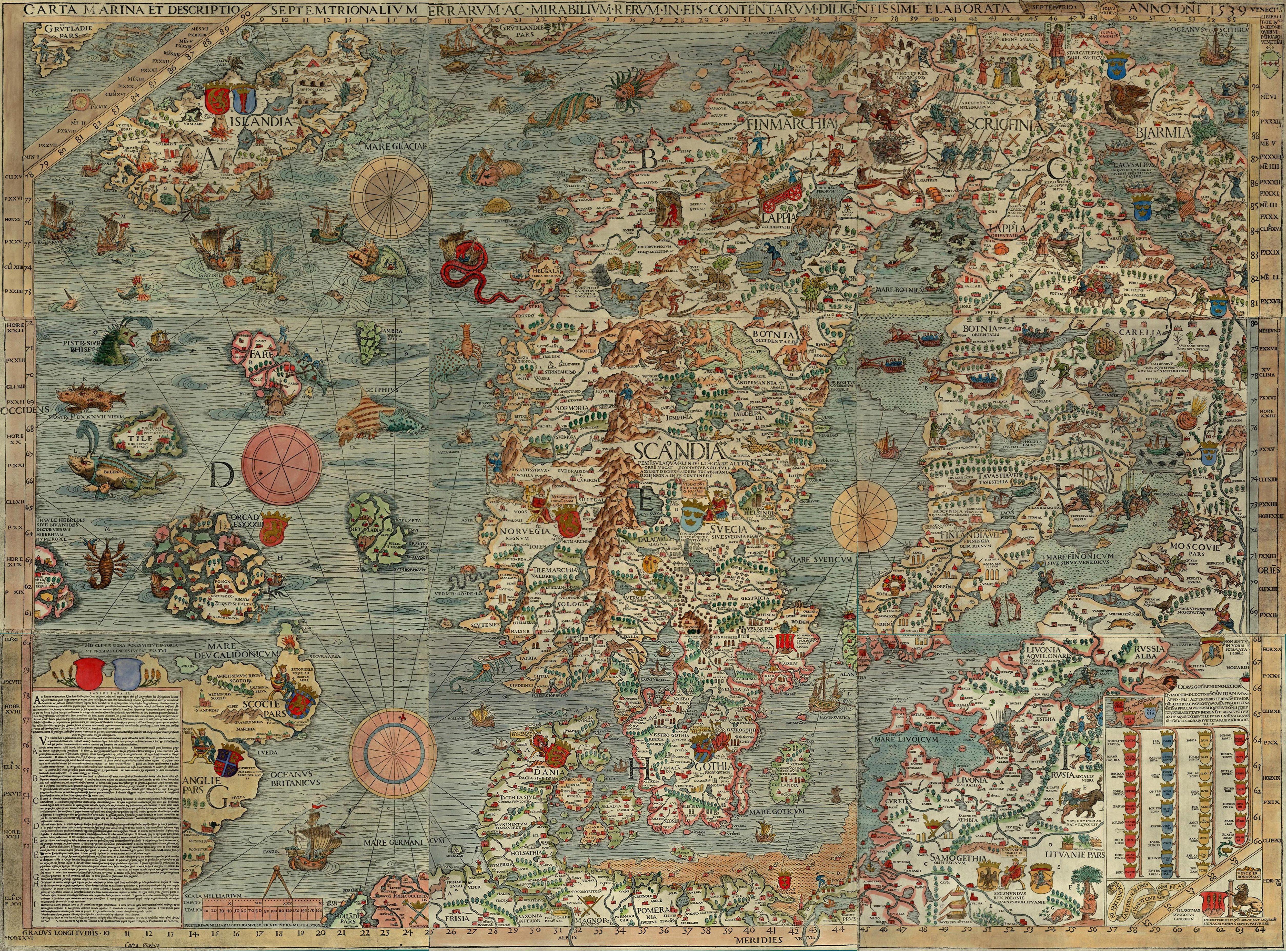 Carta Marina, Olaus Magnus' detailed illustrated1529 map of Scandinavia #maps #history #old