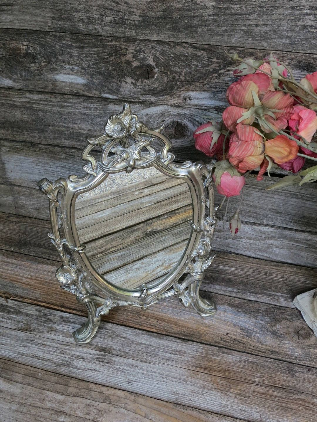 French Rococo Free Standing Vanity Mirror; Vintage Silver