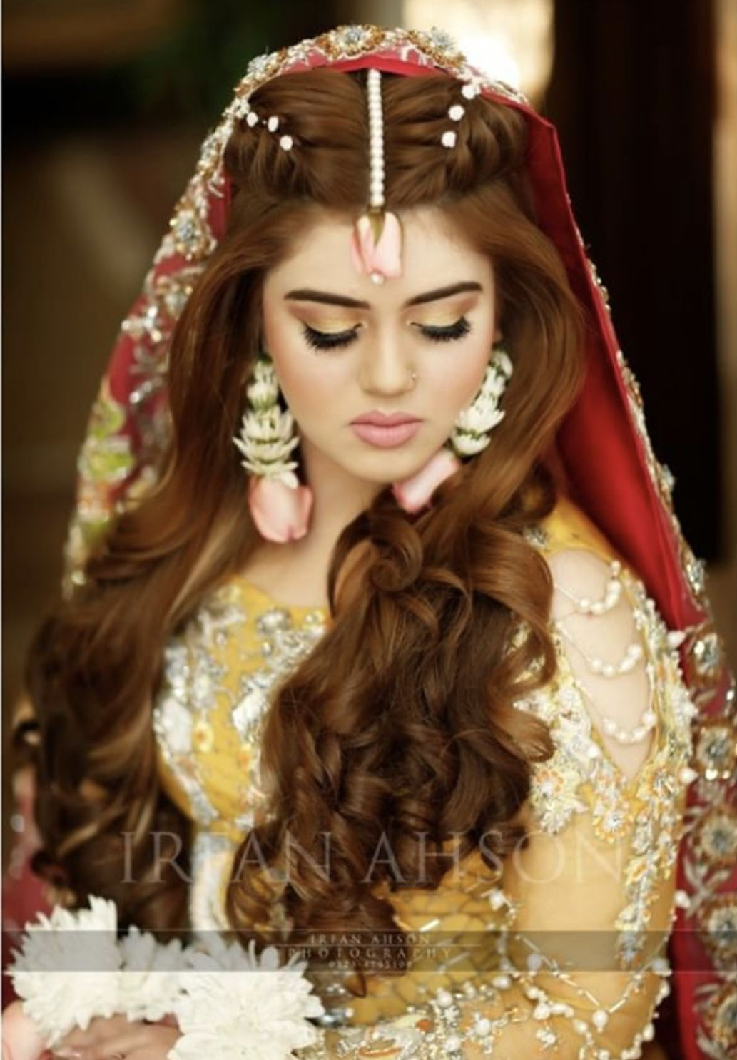 Mayun bride hairstyle and floral jewelry inspo Bridal