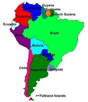 This is a map of South America for students to label Its a puzzle