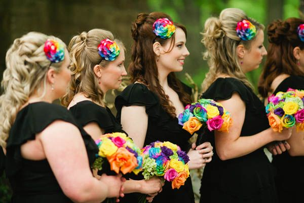 Wedding Ideas By Color Rainbow Rainbow Wedding Theme Rainbow Bridesmaids Rainbow Wedding
